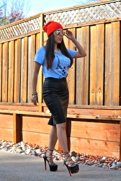 leather Zara skirt - Gap hat - Gap t-shirt - Christian Louboutin pumps