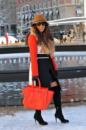 lulus coat - sam edelman boots - Zara dress - Gap hat - Celine bag