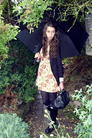 Forever 21 dress - Hunter boots - Bershka blazer - falke tights - vintage purse