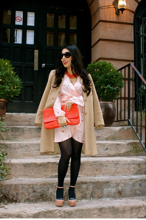 peach In Love with Fashion dress - nude Zara coat - nude Jeffrey Campbell wedges