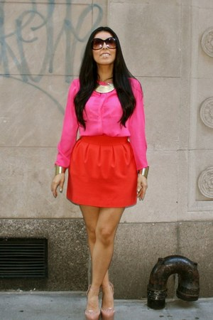 bubble gum H&M blouse - red Zara skirt