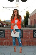 carrot orange lulus blazer - blue Express jeans