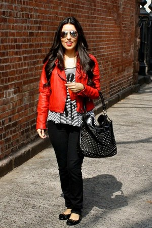 red Zara jacket - black Burberry bag - black H&M blouse