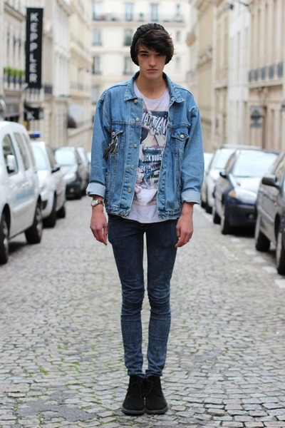 blue Cheap Monday jeans - black Clarks shoes - blue Levis vest