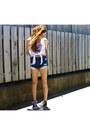 Black-warehouse-shoes-navy-supre-shorts-white-garage-top