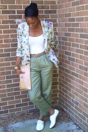 white Oxford shoes - floral thrifted blazer - thrifted vintage purse - high-wais