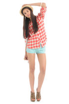 red Forever 21 shirt - blue Forever 21 shorts - brown Forever 21 shoes - white F
