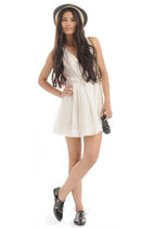 white Forever 21 dress - black Forever 21 purse - beige Forever 21 hat - gold Fo