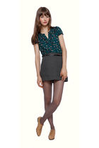 green Forever 21 top - gray Forever 21 skirt - gray Forever 21 tights - beige Fo
