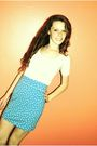 Blue-forever21-skirt-white-shirt