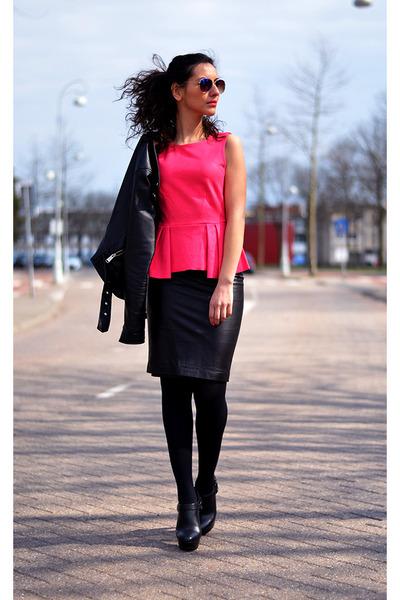 peplum-suede H&M top - leather Zara skirt