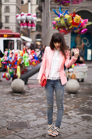 light pink blazer - white shirt - heather gray pants