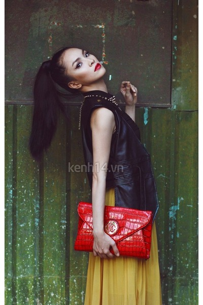 red clutch bag - black leather jacket blazer - mustard skirt
