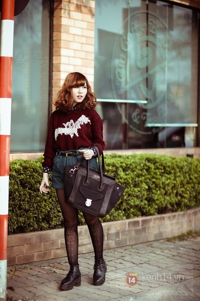 crimson sweater - black shoes - black bag - navy shorts