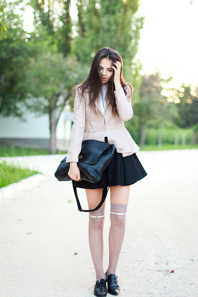 black bag - eggshell blazer - light pink socks - black loafers - black skirt