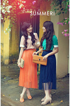 orange chiffon skirt - navy chiffon skirt - beige shoes - mustard bag