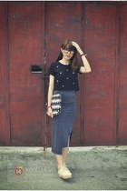 navy top - charcoal gray skirt