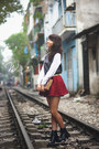 Gray-tights-dark-gray-shirt-ruby-red-skirt