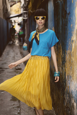 mustard pleated skirt skirt - black classic scarf - sky blue blouse - bracelet