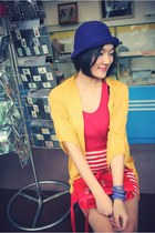 red dress - navy hat - red bag - gold cardigan - light blue bracelet
