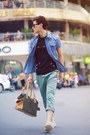 Bag-aquamarine-pants-black-blouse-blue-denim-t-shirt-sneakers