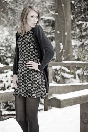 gray H&M dress - avanti cardigan