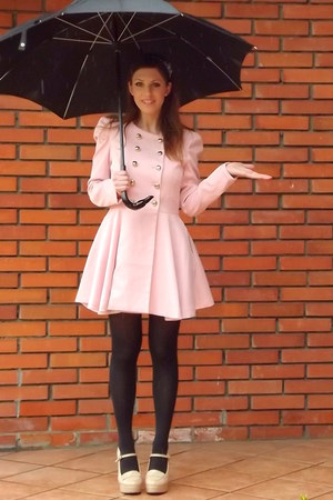 light pink romwe coat - dark gray Calzedonia socks - neutral Forever 21 heels