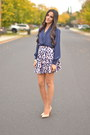 Navy-silk-vintage-blouse-light-pink-polka-dot-forever-21-skirt