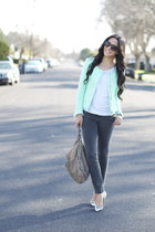 aquamarine tweed Zara jacket - heather gray ankle zip J Brand jeans