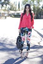 black strappy Target sandals - turquoise blue floral trouser hm pants