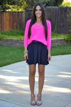 navy coated waist Forever 21 skirt - magenta Forever 21 sweater