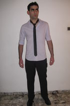 purple renuar blouse - black renuar pants - black renuar tie - black Trak shoes