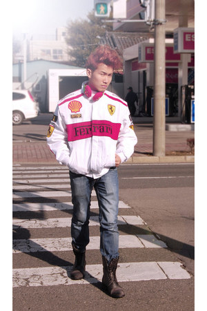 leather Diesel boots - nylon ferrari jacket - denim jeans Penshoppe pants
