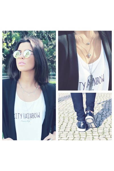 white City Rainbow t-shirt - black Zara jeans - black H&M blazer