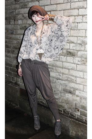gray Zara pants - beige Topshop blouse - gray Topshop shoes