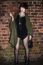 Green-vintage-coat-black-kurt-gieger-boots-black-vintage-moschino-accessorie
