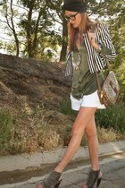 H&M blazer - Vintage Gucci purse - Saint Grace shorts - Omelle heels - Equipment