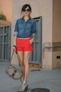 H-m-shirt-vintage-gucci-purse-zara-shorts-hype-belt-joie-heels