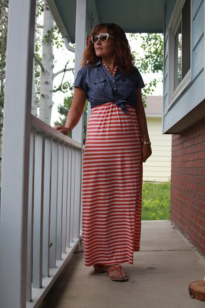 navy chambray Style and Co shirt - carrot orange striped maxi Old Navy dress