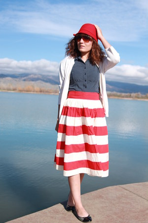 red cloche Target hat - navy Style and Co shirt - white merona cardigan
