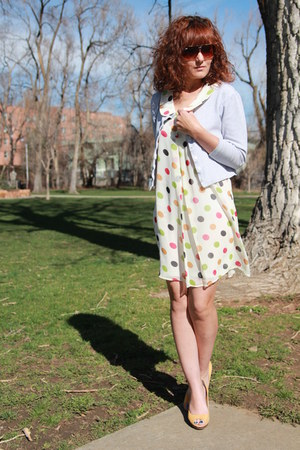 white polka dot fun2fun dress - mustard suede peep toe Worthington heels
