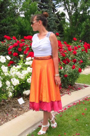 orange Kariza skirt - white Susie Rose shirt - neutral Madden Girl sandals