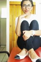 mexican bracelet - sexy jeans jeans - flats - blouse - watch - bicolor flats