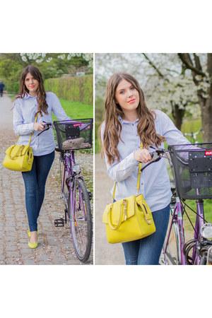 navy H&M jeans - light blue H&M shirt - yellow Fiorelli bag