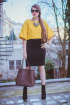 yellow H&M top - brown Louis Vuitton bag - black Marc by Marc Jacobs sunglasses