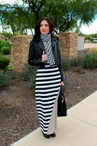 maxi Groopdealz dress - moto Love Culture jacket - print Michael Kors scarf