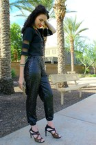 sequin DIY pants - clutch Shiraleah bag - organza crop Tobi top