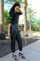 sequin DIY pants - clutch Shiraleah bag - organza crop Tobi top