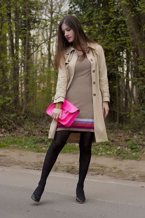 tan Gérard darel coat - hot pink the cambridge satchel company bag