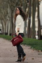 brick red Chloe bag - black susanna Chloe boots - beige Zara sweatshirt